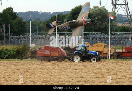 Harvesting in North Yorkshire - Stock Photo