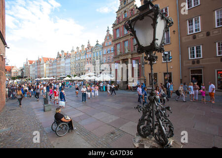 Long lane or in Polish ulica Długa is a main street and attraction in the old town of Gdansk, Poland. It is lined - Stock Photo
