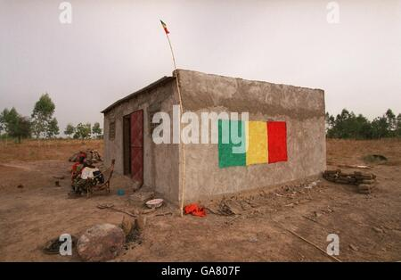 Soccer - African Nations Cup Mali 2002 - Painted Houses - Stock Photo