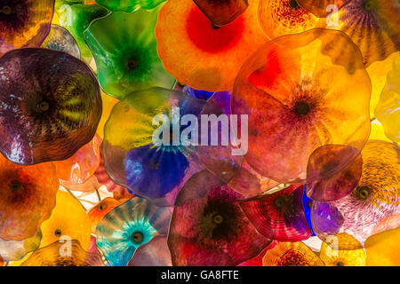 The Hand Blown Glass Flower Ceiling at the Bellagio Hotel in Las Vegas. - Stock Photo