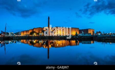 Albert Dock at Night Dusk View across Canning Dock Liverpool England UK - Stock Photo
