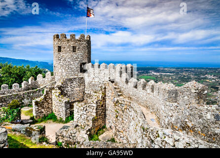 Sintra, Portugal. Castle of the Moors hilltop medieval fortress, built by Arabs in 8th century. - Stock Photo
