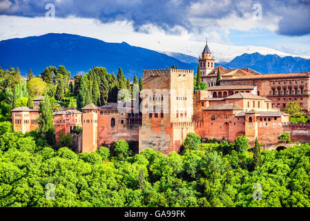 Granada, Spain. Famous Alhambra, Nasrid Emirate fortress, European travel landmark in Andalusia. - Stock Photo