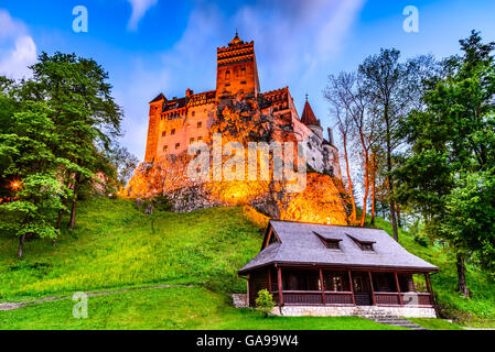 Bran Castle, Romania - Stunning HDR twilight image of Dracula fortress in Transylvania, medieval landmark. - Stock Photo