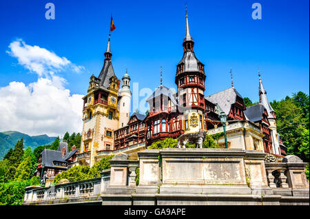 Peles Castle, Romania. Beautiful famous royal residence with ornamental garden in Sinaia, Carpathian Mountains, - Stock Photo