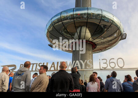 Brighton & Hove, East Sussex, UK, 04 August 2016. British Airways i360 Opening.The observation tower, built on the - Stock Photo