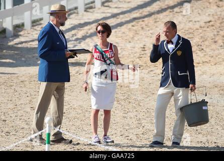 Deodoro, Rio de Janeiro, Brazil. 05th Aug, 2016. Rider Bettina Hoy of Germany, the personal coach of Aleksandr Markov - Stock Photo