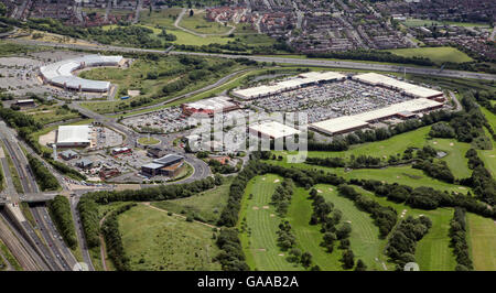 aerial view of Teesside Retail Park shopping centre, Stockton on Tees, UK - Stock Photo