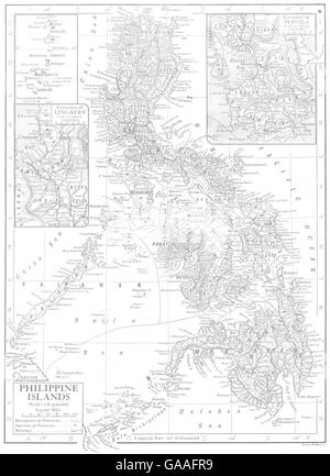 PHILIPPINES: Philippine Islands; Inset Lingayen, Manila, 1910 antique map - Stock Photo