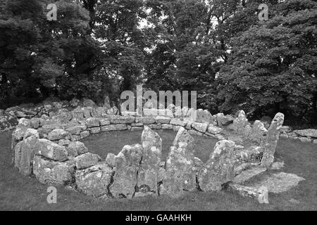 Stone Hut in the 4th century AD Celtic Village of Din Lligwy, Anglesey - Stock Photo
