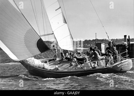 AJAX NEWS PHOTOS. 1974. SOUTHSEA, ENGLAND. - BATTLECRY AT THE START OF CHANNEL RACE.  PHOTO:JONATHAN EASTLAND/AJAX - Stock Photo