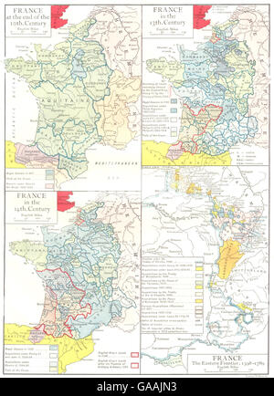FRANCE: Eastern Frontier,1598-1789; end of 10th century; in 13th 14th C 1910 map - Stock Photo