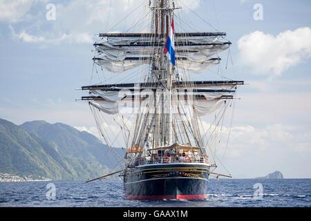 Three-masted clipper cruising ship 'Stad Amsterdam', Dominica, Caribbean Sea, Atlantic Ocean. All non-editorial - Stock Photo
