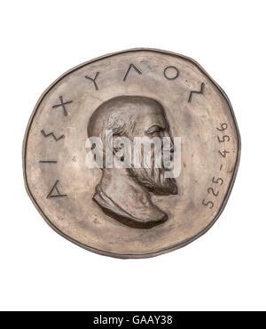 Greek Novelist Aeschylus on Ancient Bronze Medal - Stock Photo