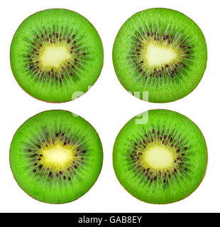 Collection of various kiwi fruit slices isolated on white background with clipping path - Stock Photo