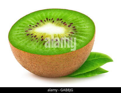 Half of kiwi fruit isolated on white background with clipping path - Stock Photo
