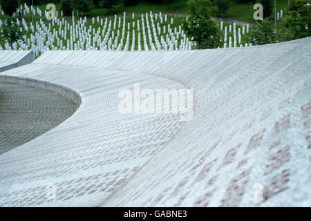 The Srebrenica-Potocari memorial and cemetery for the victims of the 1995 genocide in Bosnia Herzegovina. - Stock Photo