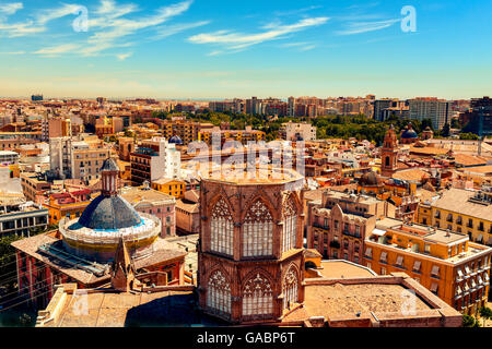 an aerial view of the roof of the Cathedral and the old town of Valencia, Spain, as seen from the Micalet, the belfry, - Stock Photo