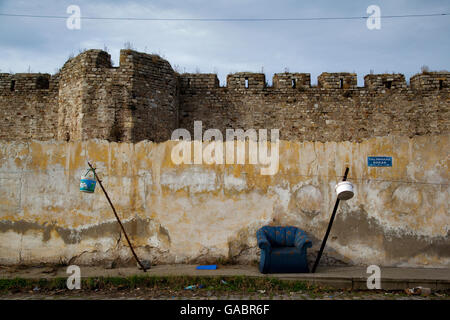 Canakkale Castle and city walls at the same time it is located in gypsy neighborhood. Turkey - Stock Photo