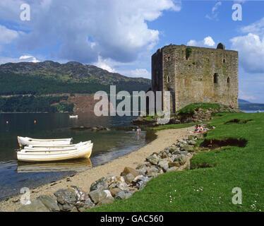Carrick Castle is a 15th century tower house on the shore of Loch Goil, near Lochgoilhead, Argylll - Stock Photo