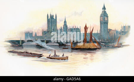 The Houses of Parliament, Palace of Westminster,  London, England in the 19th century. - Stock Photo