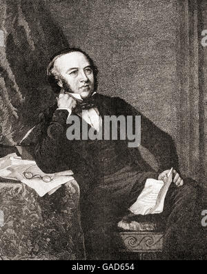 Sir Rowland Hill, 1795 – 1879.  English teacher, inventor and social reformer, best known for originating the basic - Stock Photo