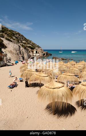 Parasols on Cala Sant Vincenc beach, north coast, Mallorca ( Majorca ), Balearic Islands, Spain, Europe - Stock Photo