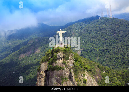 View of the Christ statue in Tijuca national park, on Corcovado mountain, Rio de Janeiro, Brazil - Stock Photo
