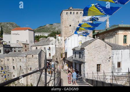 Mostar, Herzegovina-Neretva, Bosnia and Herzegovina.  Old Town seen from the single-arch Stari Most, or Old Bridge. - Stock Photo