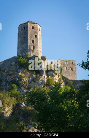 Pocitelj, Herzegovina-Neretva, Bosnia and Herzegovina. Citadel Pocitelj, the 14th century fortress. - Stock Photo
