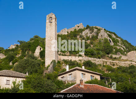 Pocitelj, Herzegovina-Neretva, Bosnia and Herzegovina.  The Clock Tower. - Stock Photo