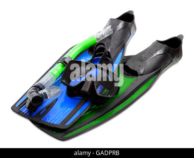 Mask, snorkel and flippers of different colors. Diving gear on white background. - Stock Photo