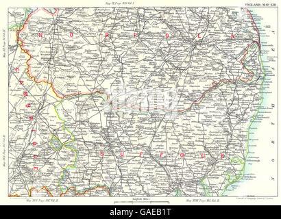EAST ANGLIA: Suffolk Norfolk Broads Fens Cambridge Norwich Ipswich, 1893 map - Stock Photo