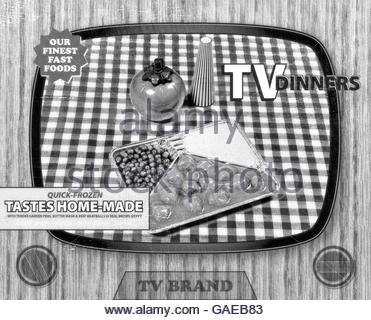 TV dinner tray vintage retro meal aluminum food dish packaging style - Stock Photo