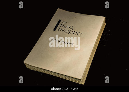 An illustrative 'aged' copy of the Iraq Inquiry Report, highlighting how long it took before being released. - Stock Photo