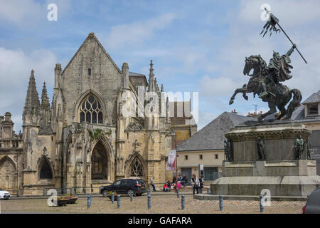 France, Normandy, Falaise, William the Conqueror & Trinity church - Stock Photo