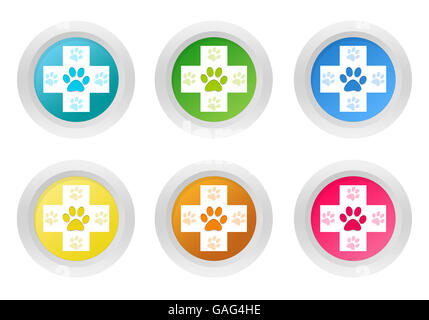 Set Of Rounded Colorful Icons With Veterinary Symbol In Green Stock
