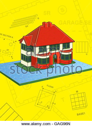 Vintage thirties house style construction kit toy scale model illustration - Stock Photo
