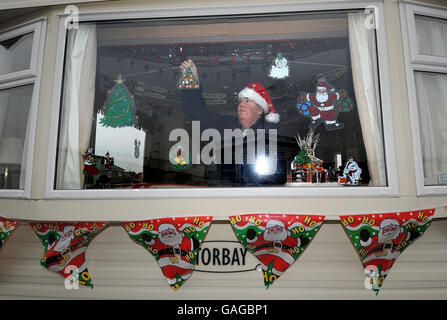 Christmas in a caravan for flood families - Stock Photo