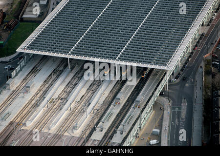 Aerial View of St Pancras International Station - Stock Photo