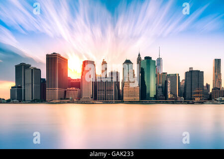 Financial District at sunset, in New York City - Stock Photo