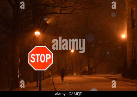 Stop Sign in the Snow - Stock Photo
