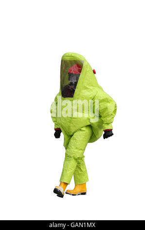 man with yellow protective gear  on white background - Stock Photo