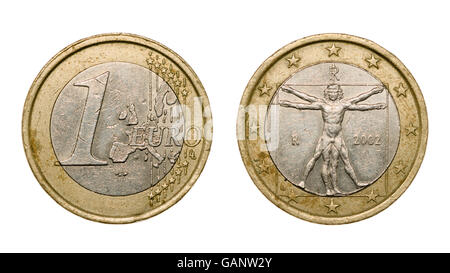 One euro coin isolated on white background with clipping path - Stock Photo