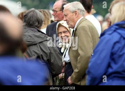 Britain's Queen Elizabeth II looks around the Royal Horse Show in Windsor, Berkshire. Stock Photo
