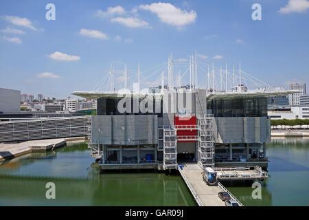 LISBON, PORTUGAL - JUNE 16, 2015: The famous contemporary building of the Lisbon Oceanarium, Portugal - Stock Photo