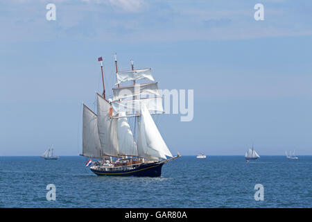 sailing ship ´Gulden Leeuw´, Kiel Week, Kiel, Schleswig-Holstein, Germany - Stock Photo