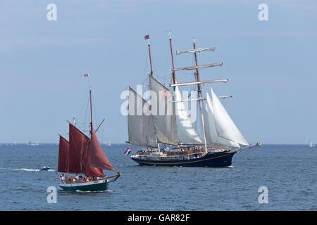 sailing ships ´Gulden Leeuw´ and ´Sampo´, Kiel Week, Kiel, Schleswig-Holstein, Germany - Stock Photo