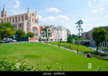 San Jeronimo el Real church and The Prado Museum gardens. Madrid, Spain. - Stock Photo