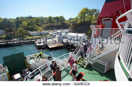 On board the MV Finlaggan Caledonian MacBrayne ferry as it approaches Port Askaig on the Island of Islay, Argyll, - Stock Photo